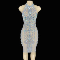 Free Shipping High Quality High Elastic tank backless mesh Rhinestones Bodycon Dress Dj Party Singer Costumes Dress