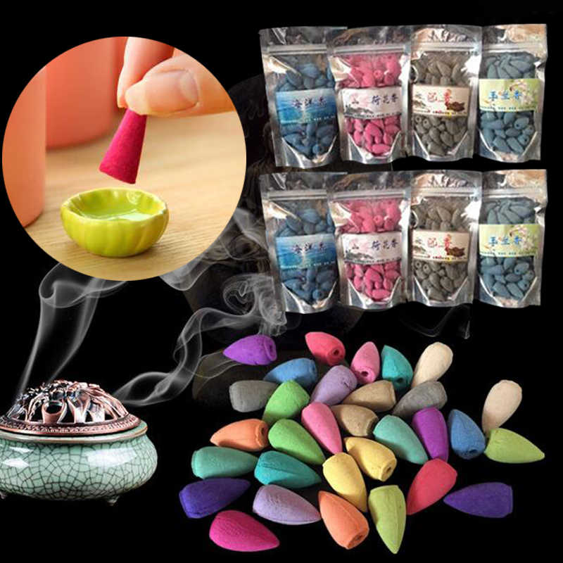 50Pcs/Bag Natural Scents Aroma Backflow Incense Cones Fragrance Relax Relax