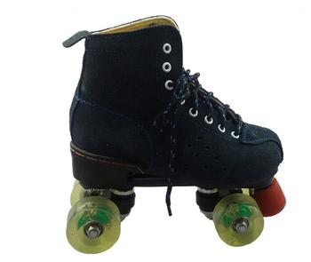 Black Cowhide Roller Skates 4-Wheels Skates Shoes Pantine Woman Man Ourdoor Sports Shoes Skate Shoes Skating Rollers Patines