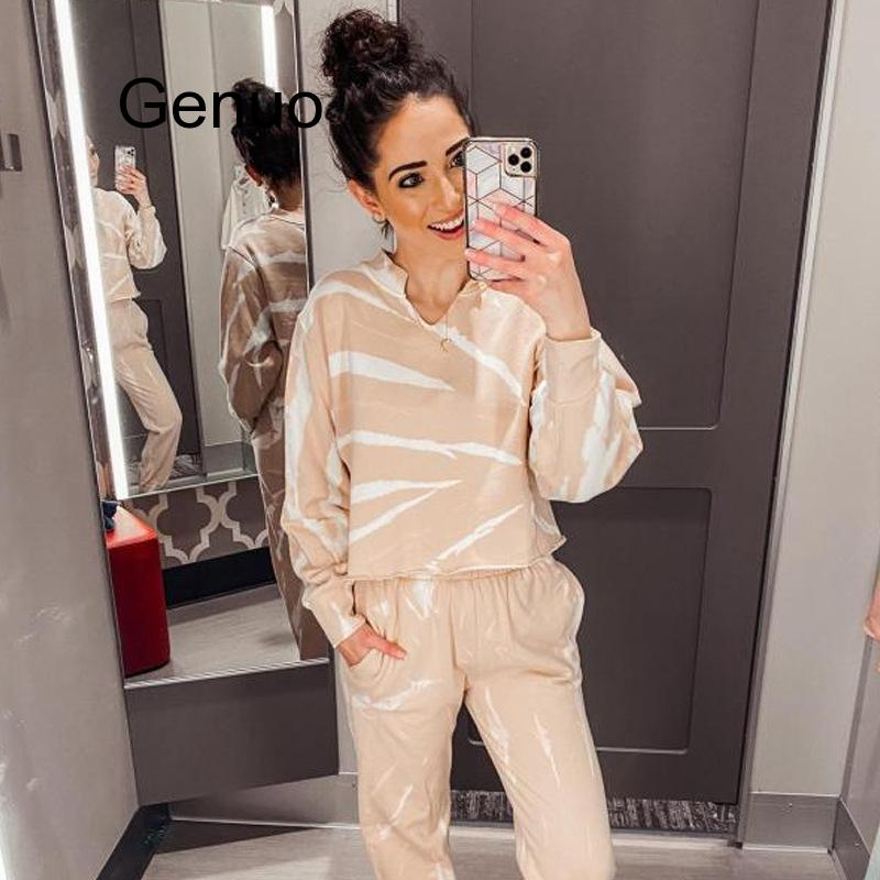 Fashion Tie-dye Casual Home Suit Hoodies Tops And Pants Two Piece Set Spring Women Tracksuit Top Trousers Casual Sportswear New