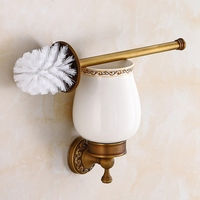Antique Brushed Brass Carved Wall Mounted Toilet Brush Holder Bathroom Hardware Bathroom Accessories