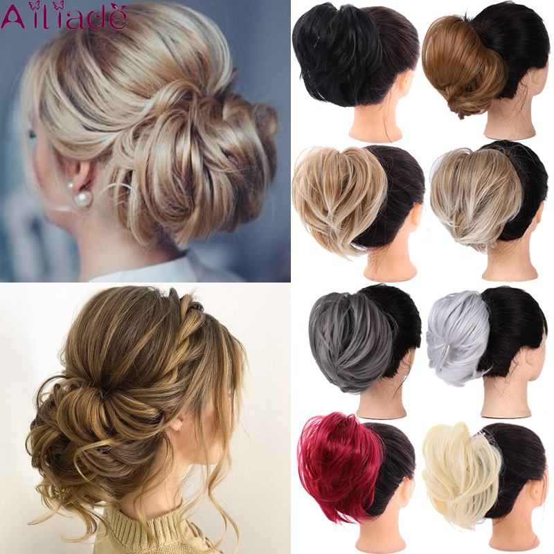 AILIADE Messy Hair Bun Scrunchie For Women Hairpiece Extensions High Temperature Fiber Synthetic Straight Ring Wrap Chignon