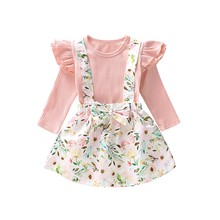 Autumn Set Baby Girl Flare Long Sleeve Cotton T-shirt Blouse Strap Floral Skirts Casual Outfits
