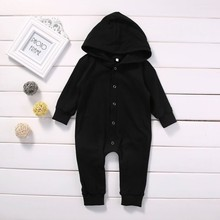 Black Hooded Baby Rompers Fashion Newborn Clothes Cotton Boy Clothing Spring Autumn Roupa Infant Jumpsuits