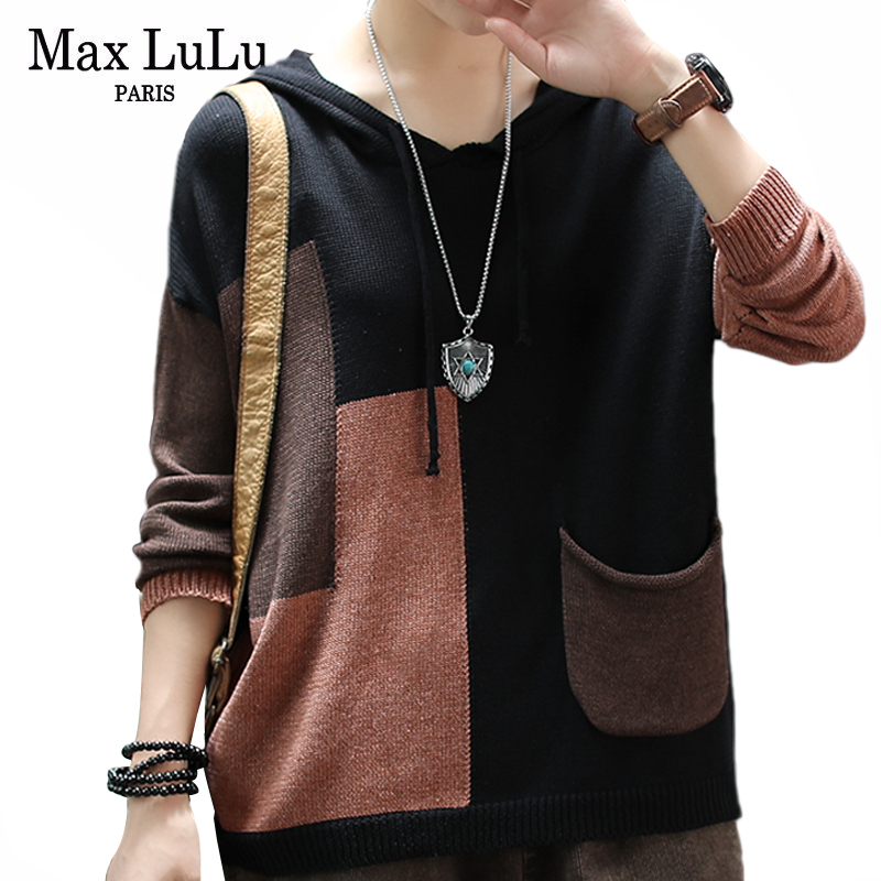 Max LuLu Fashion Luxury Ladies Punk Winter Clothes Womens Warm Knitted Hooded Sweaters Cotton Vintage Pocket Pullovers Plus Size