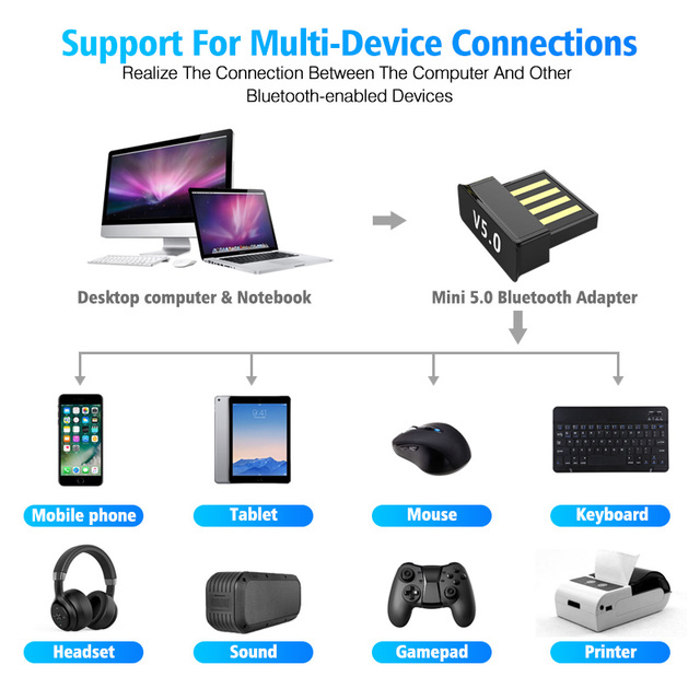 USB Bluetooth Adapters BT 5.0 USB Wireless Computer Adapter Audio Receiver Transmitter Dongles Laptop Earphone BLE Mini Sender 5