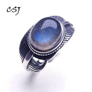 Image 1 - CSJ 100% 天然ラブラドライトリングスターリングシルバー女性ファムレディウェディング婚約指輪パーティーギフトファインジュエリー
