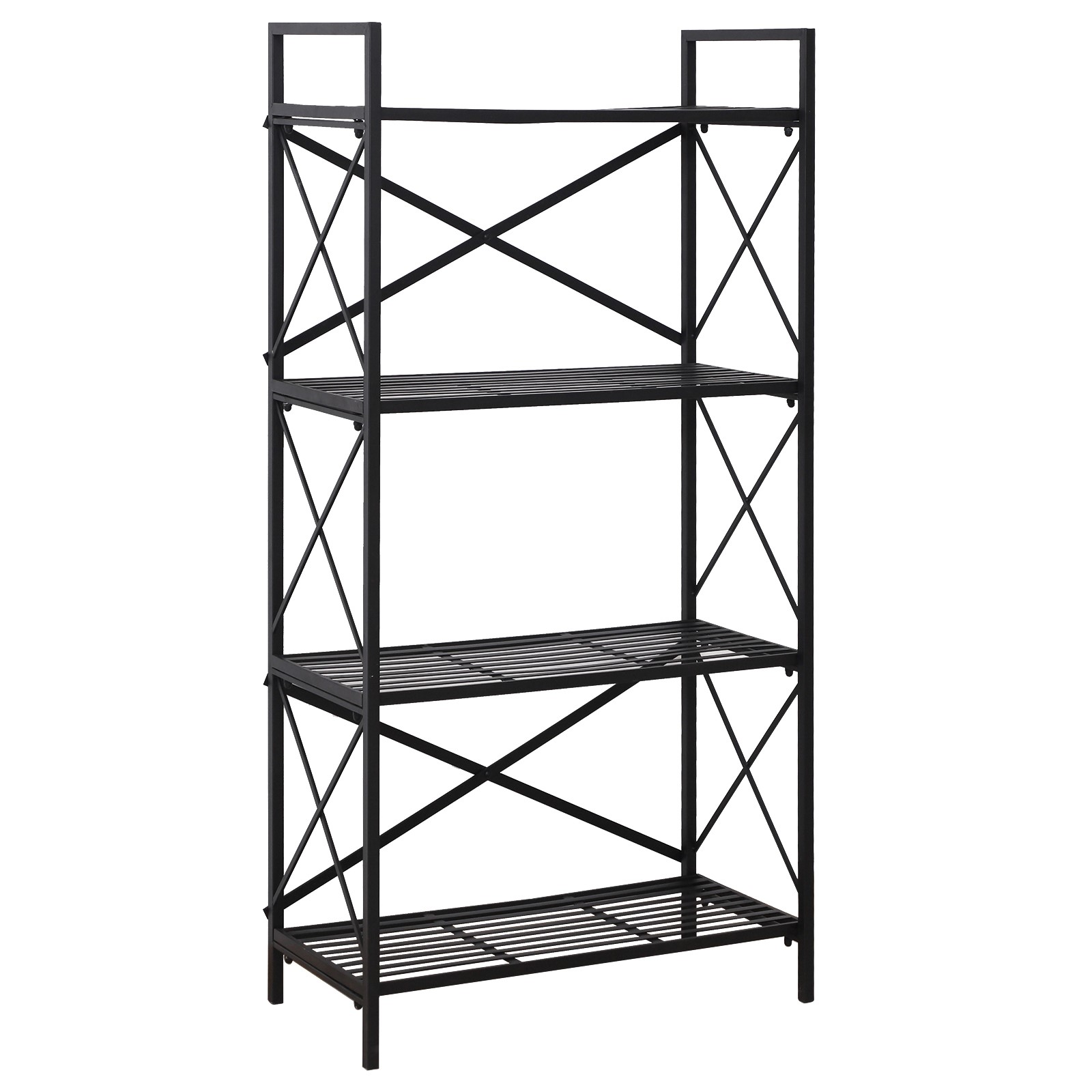 HOMCOM 4 Shelf Shelves Space Saving For House Office Garage Metal 80x40x160 Cm Black