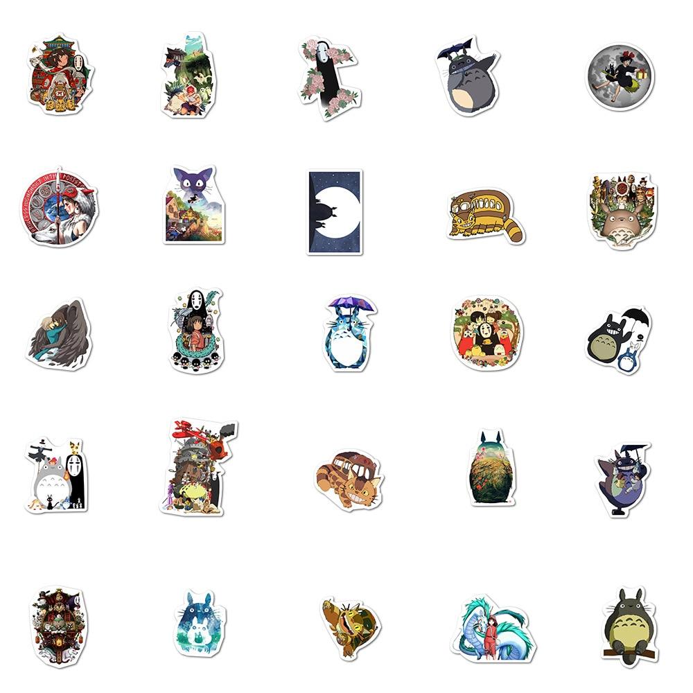 50/100PCS Miyazaki Hayao Anime Stickers Moving Castle Spirited Away Cartoon Stickers For Bike Laptop Book Luggage Kids Toys 6