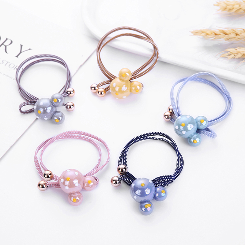 Kpop 15 Colors Acrylic Rabbit Mouse Heart Ball Love For Women Elastic Hair Bands Kid Children Dot Rubber Bands High Elasticity