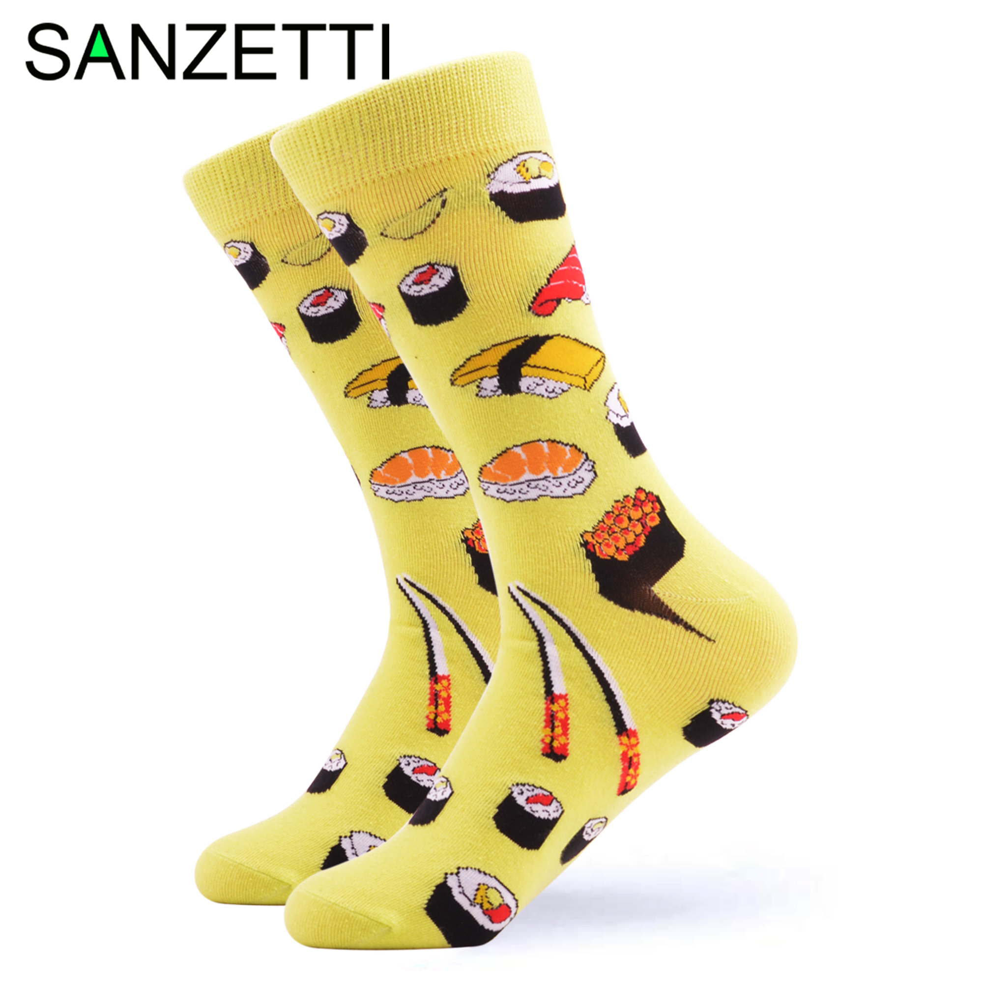SANZETTI 1 Pair Happy Socks High Quality Gift Men's Colorful Comfortable Combed Cotton Funny Food Fruit Gift Wedding Dress Socks