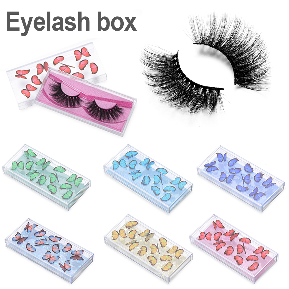 Women Butterfly False Eyelashes Case with Tray Empty Eye Lashes Packaging Boxes for 3D Mink Lashes Storage Box Reusable