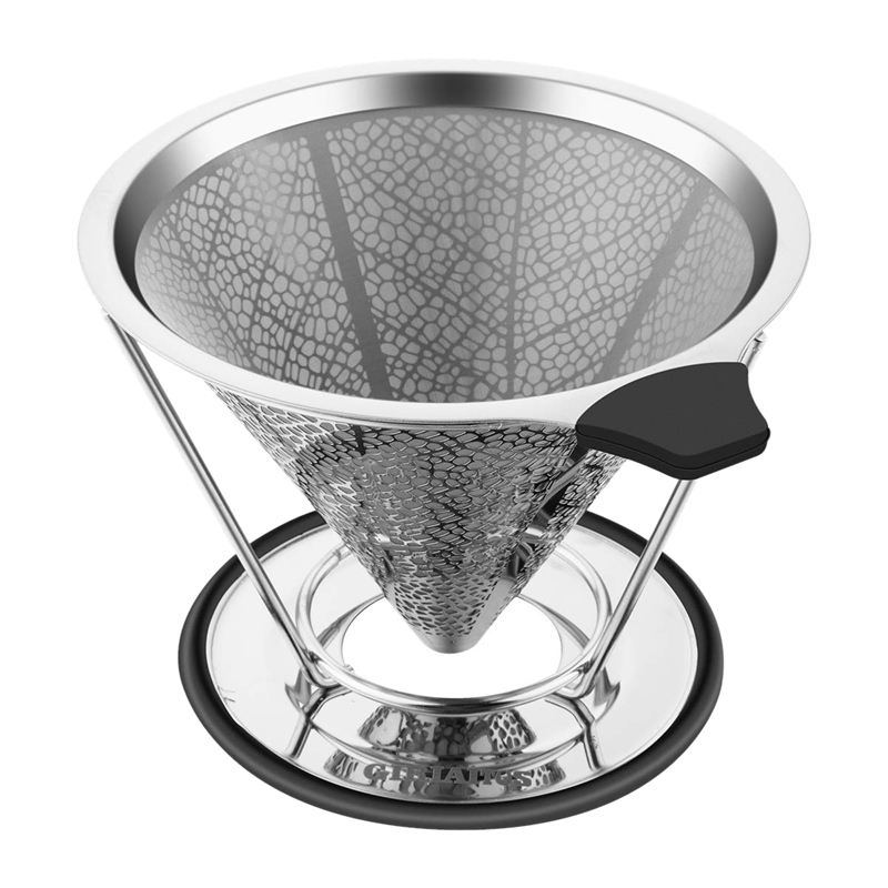 Pour Over Coffee Dripper, Stainless Steel Coffee Filters Cone With Stand Reusable Paperless Pour Over Coffee Maker For 1-4 Cup