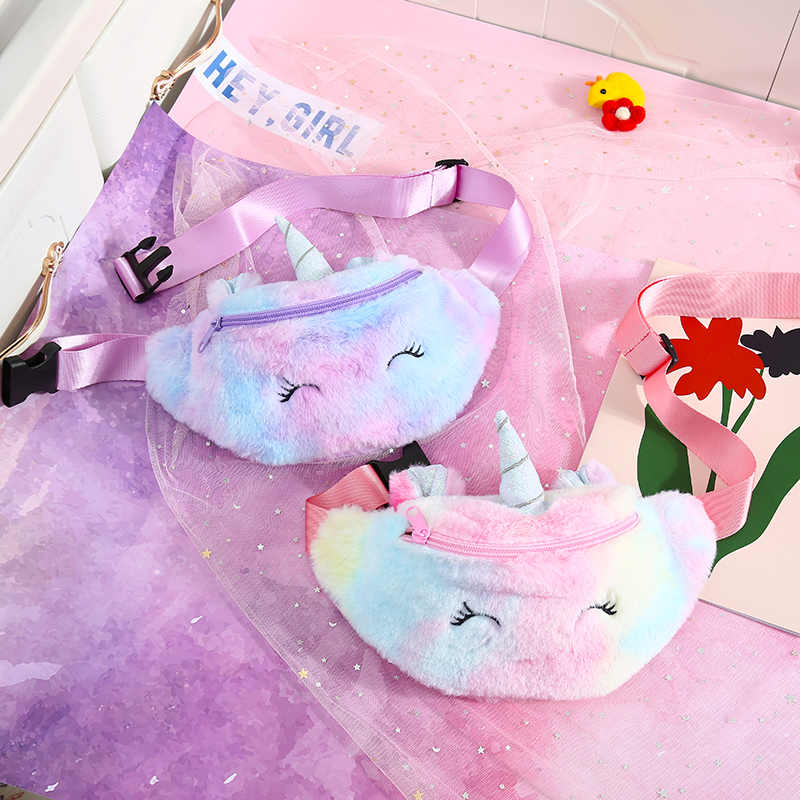 Student Winter Fur Unicorn Waist Bag Girl Rainbow Fur Chest Bag Cartoon Corduroy Plush Fanny Pack Teenager Cute Belt Bag Pocket