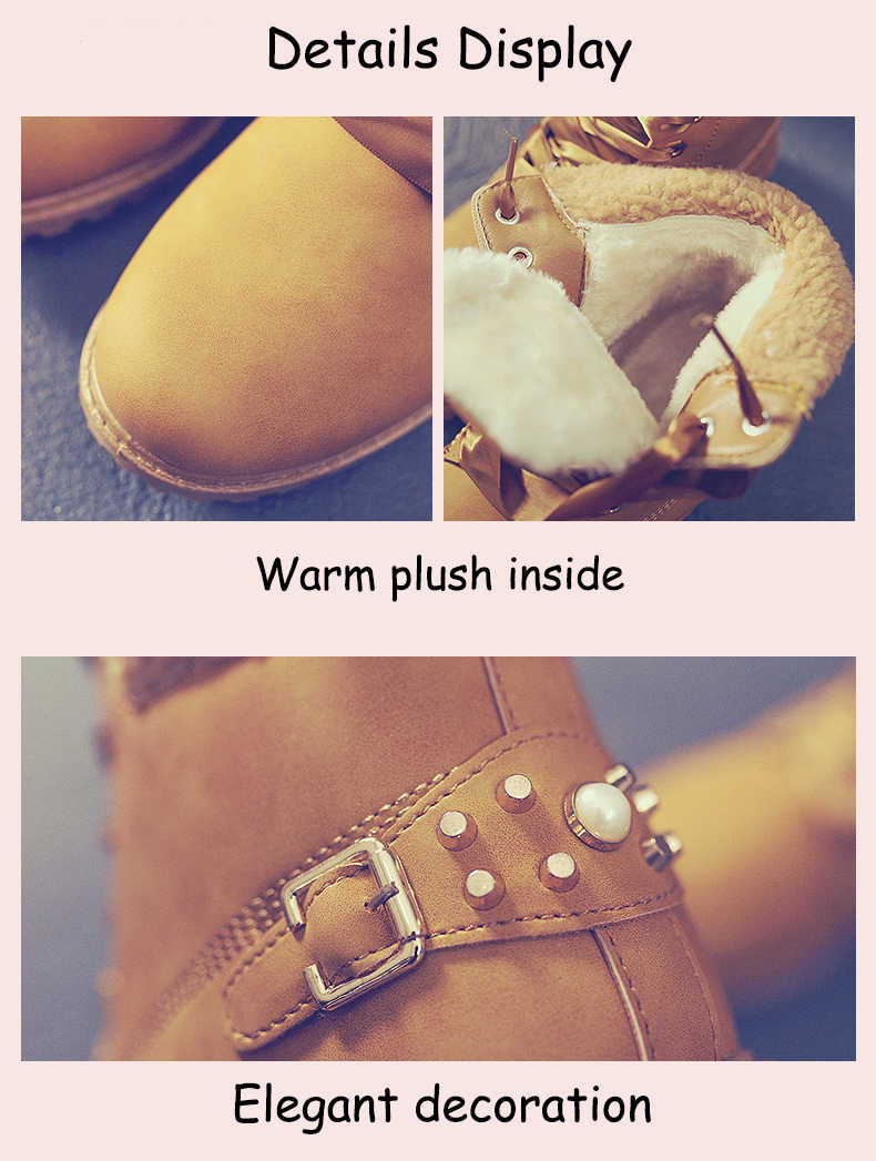ERNESTNM göndermek ücretsiz dantel kar botları kadın 2019 rahat yarım çizmeler yuvarlak ayak kadın ayakkabı platformu pembe patik kış peluş Botas