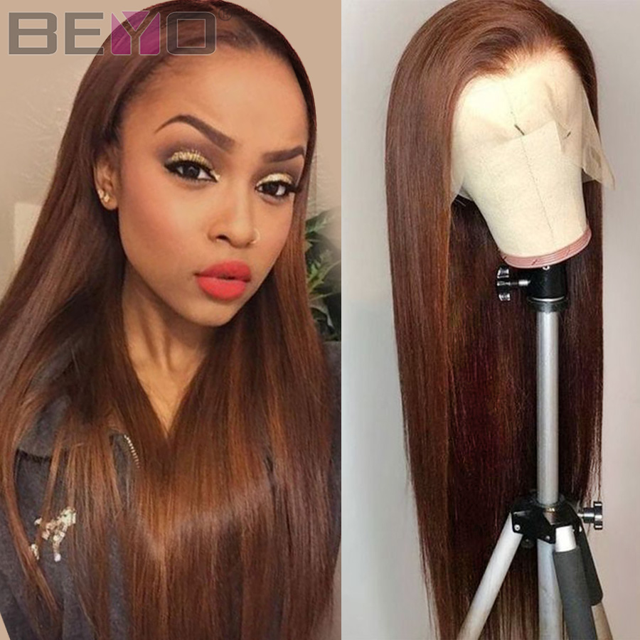 Brazilian Straight Lace Front Human Hair Wigs Pre Plucked 360 Lace Frontal Wig 180 Density Brown 13X6 Lace Front Wig Remy Wigs