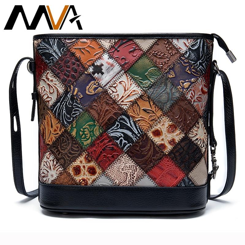 Bolsas de Couro Genuíno para Mulheres Bolsas de Ombro Bolsa de Designer de Luxo para Mulheres Bolsa de Couro Bolsa Pequena Retalhos Mulher Mva