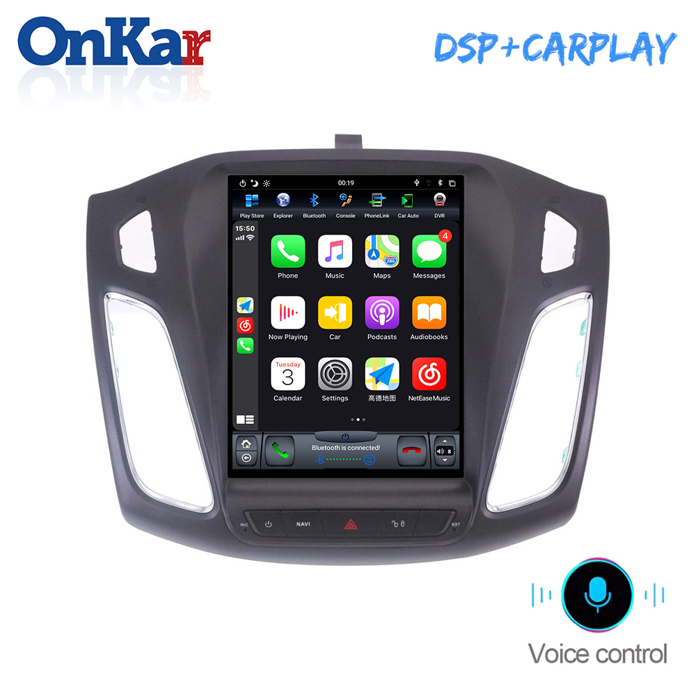 ONKAR 10.4 Inch Vertical Screen For Ford Focus 2012-2015 Android 9.0 Car GPS Navigation 1 Din DSP Wireless CarPlay HDMI image