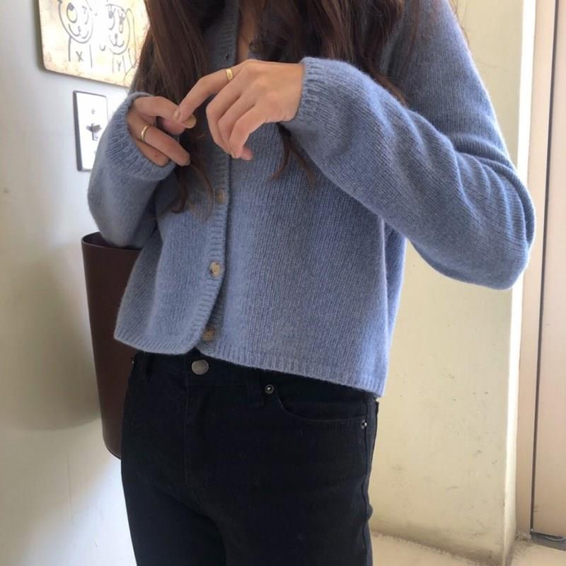 Women Solid Wool Knitted Short Sweaters Fall O-Neck Oversized Cardigans Open Stitch Long Sleeve Loose Single Breasted Cardigans