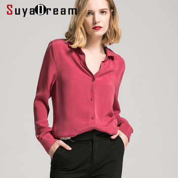 SuyaDream Women Silk Blouse 30mm 100% REAL SILK CREPE Blouses Button Heavy OFFICE Lady 2020 WHITE Shirt