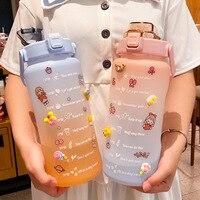 64oz su şişesi çelik e saman 2000ml ile sevimli taşınabilir ölçekli şişe su için açık seyahat su ısıtıcısı yetişkin öğrenci içecek
