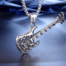 Flame guitar pendant stainless steel necklace Titanium jewelry instrument personality