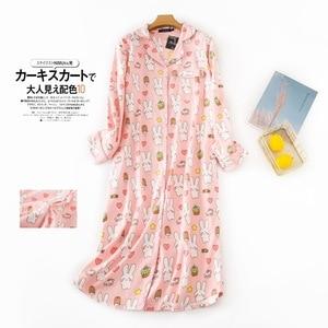 Image 4 - Женское длинное платье для сна размера плюс, теплая зимняя пижама из 100% хлопка с начесом, ночные рубашки с длинным рукавом