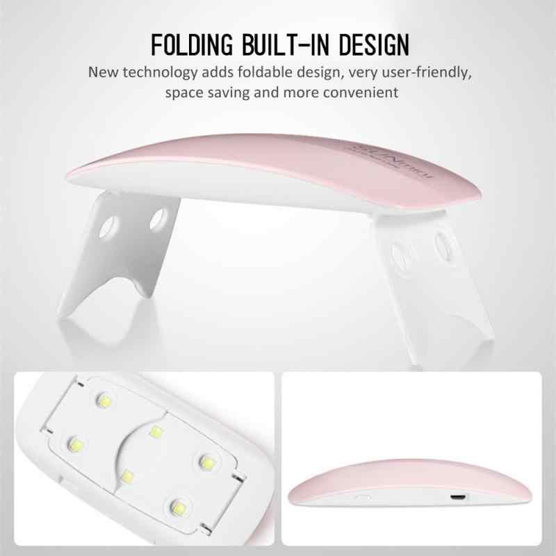Mini secador de esmalte de uñas portátil, accesorios de manicura Nail Art, lámpara UV de Gel para uñas, autodetección, 6W, 45 60 segundos