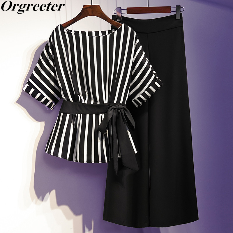 Plus Size Women Work Wear 2 Pieces Set 2020 Summer New Batwing Sleeve Bow Tie Up Striped Blouse And Wide Leg Pants Suit