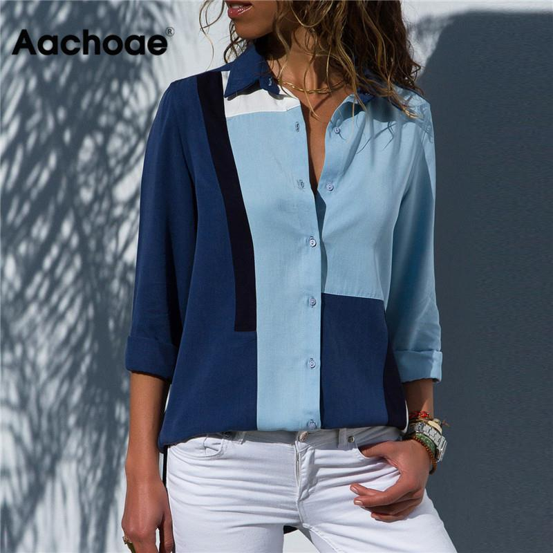 Aachoae Women Blouses 2020 Fashion Long Sleeve Turn Down Collar Office Shirt Blouse Shirt Casual Tops Plus Size Blusas Femininas(China)