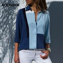 Aachoae Vrouwen Blouses 2020 Fashion Lange Mouwen Turn Down Kraag Office Shirt Blouse Shirt Casual Tops Plus Size Blusas Femininas(China)