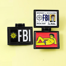 X-File FBI Fox Mulder ID Kartu Bros Simpsons Departemen Investiations Enamel Pin Lencana Kerah Jeans kemeja Perhiasan(China)