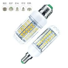 Dimmable E27 LED Lamp E14 E12 Bulb SMD 5730 Corn 48 64 90 LEDs Chandelier Candle Light For Home Decoration Ampoule