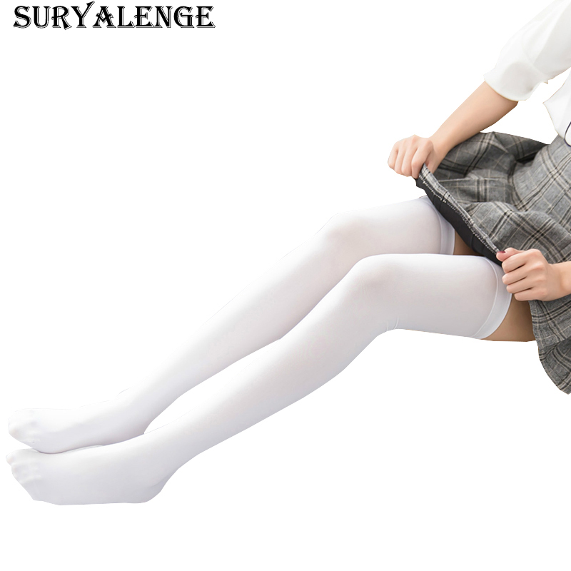 Female  Japanese Velvet Stockings Women's Fashion Was Thin Knee Stockings Girl Pure Color Lengthened 70cm Stockings