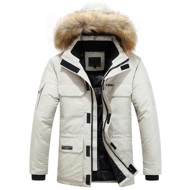 Mens Winter Jacket warm Thick Cotton Multi-pocket Hooded Jacket Male casual Fur Trim Coat men's Down jacket coat Plus size M-6XL 2