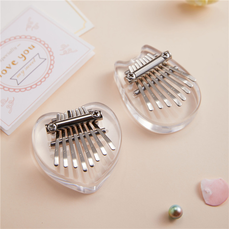 Portable Thumb Piano Crystal Transparent Kalimba Instrument 8 Keys Mini Thumb Piano Musical Instrument For Beginner
