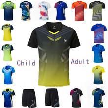 Male-Femal-Child Tennis T-Shirts , OV- Collar Quick Dry Tennis T-Shirt, Girls Badminton Clothes ,Boys Kit Table Tee Shirt Shorts