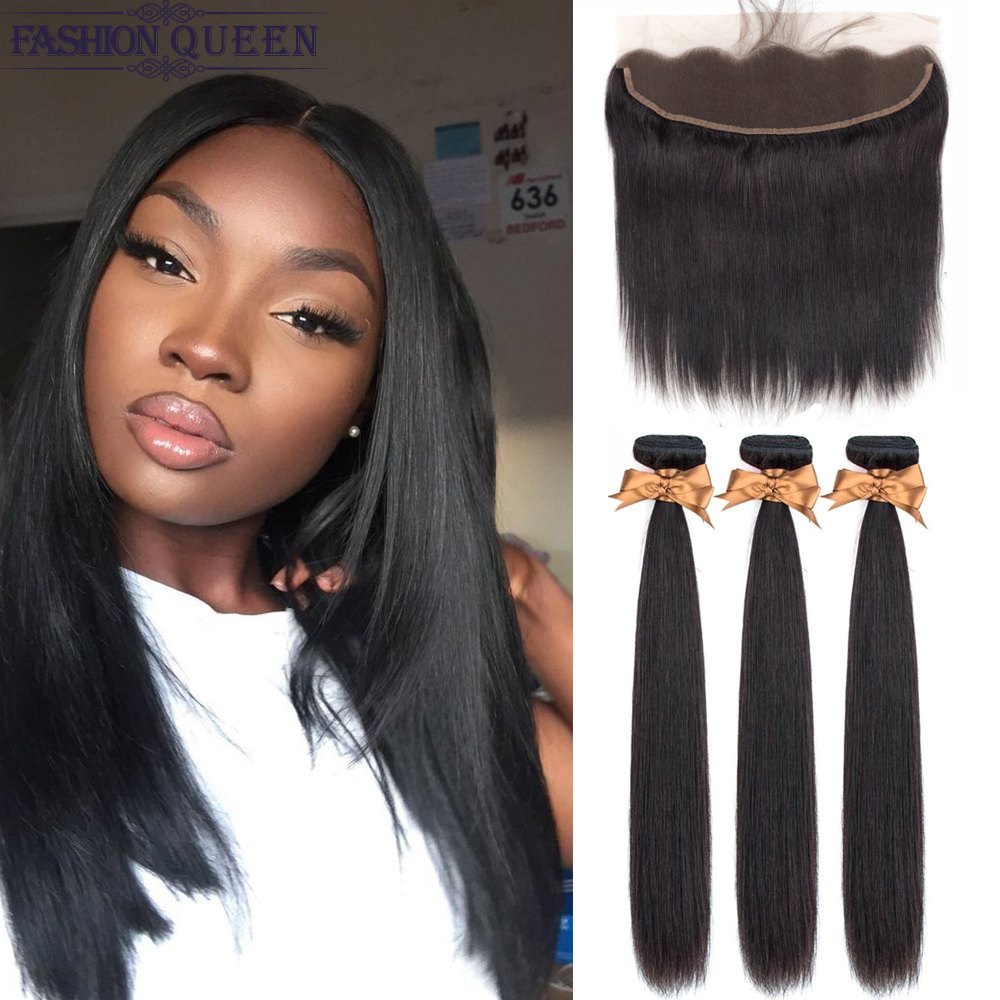 3 Bundles With Frontal Brazilian Straight Human Hair Weave Bundles With Closure Lace Frontal Non Remy Hair Fashion Queen