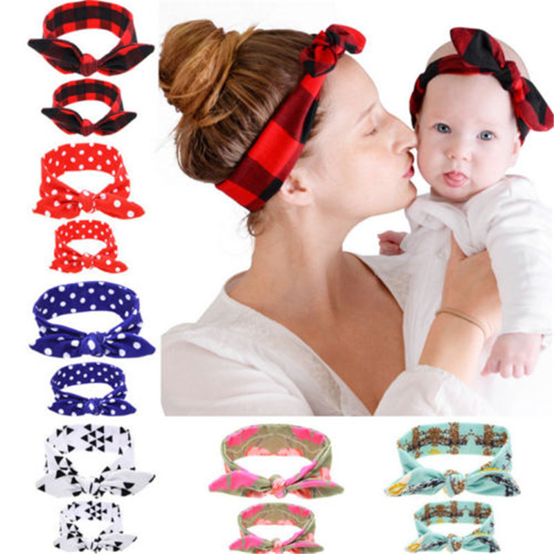 Brand New 2pcs Women Kids Baby Girl Elastic Knotted Turban Hair Band Headband Headwear Geometric Printing 2Pcs/Set Gifts