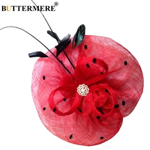 BUTTERMERE Ostrich Feather Hat Women Linen Pink Fedora With Pearl Ladies Elegant Wedding Bride Female British Tea Party Hats
