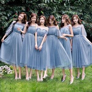 Image 1 - Lato linia do kolan szyfon regularny pas prosty niebieski szary różowy szampan elegancka siateczka Mesh kobiety sukienki druhen 9940