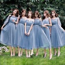 Zomer A lijn Knielange Chiffon Regelmatige Eenvoudige Riem Blauw Grijs Roze Champagne Elegant Mesh Vrouwen Bruidsmeisje Jurken 9940