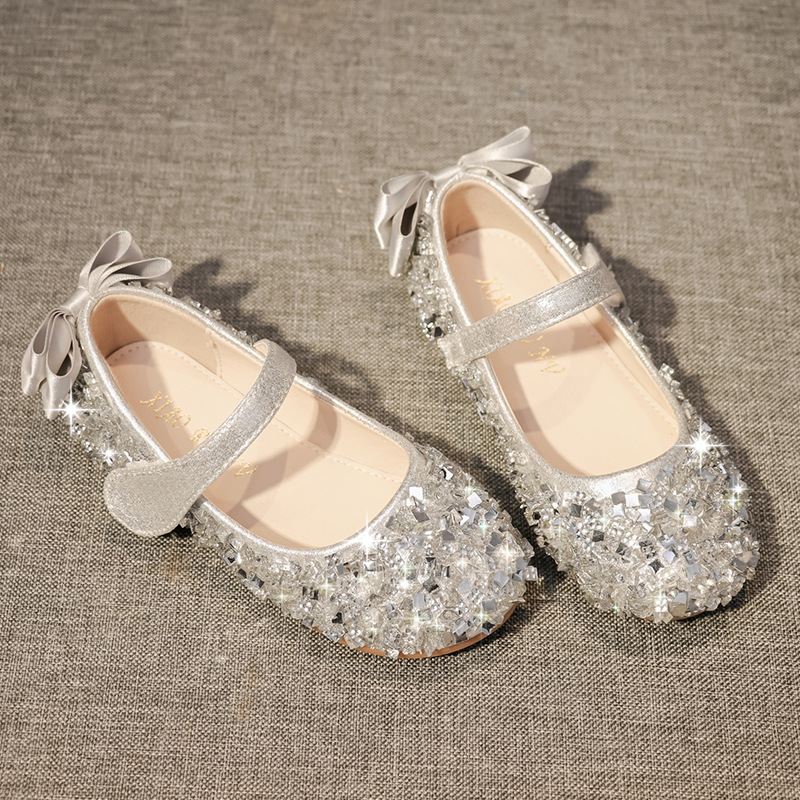 Girls Princess Shoes 2020 New Fall Flat Round Crystal Girl Shoes Comfortable Soft-soled Shoes For Children