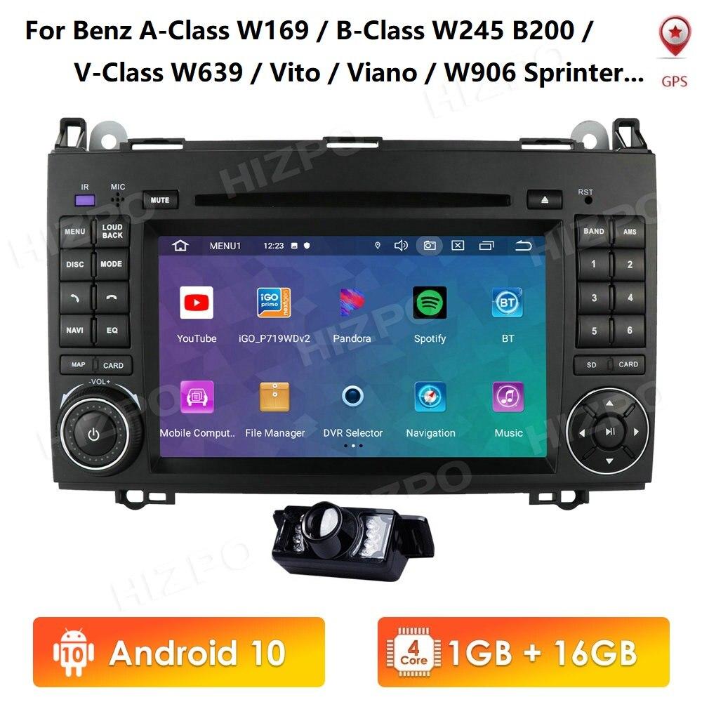 Android 10 IPS Четырехъядерный 4G 64G Мультимедиа для Mercedes Benz W169 W245 Viano Vito W639 Sprinter W906 DVD RDS SWC DVR OBD2 4GWIFI