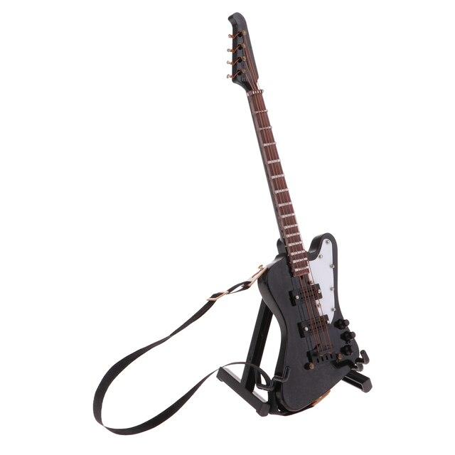 1/6 handgemachte Holz Elektrische Bass mit Stand für 12 zoll BJD Puppen Heißer Spielzeug Zubehör Schwarz #3