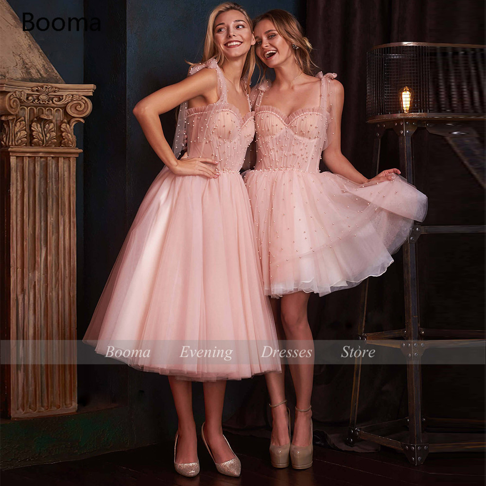 Booma Pink Pearls Short Prom Dresses Sweetheart Beaded Mini Homecoming Dresses Spaghetti Straps Above Knee A-Line Party Dresses