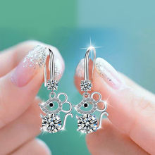 Cute Female Pink Blue White Stone Earrings Silver Color Long Drop Wedding Earrings Vintage Small Mouse Dangle Earrings For Women