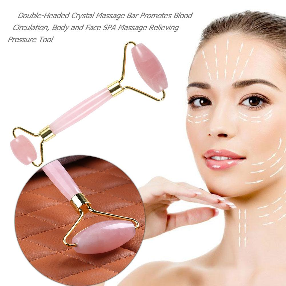 2 Styles Facial Massage Jade Roller Face Neck Natural Stone Health Care Body Gua Sha Board Beauty Tool Slimming Massage Roller
