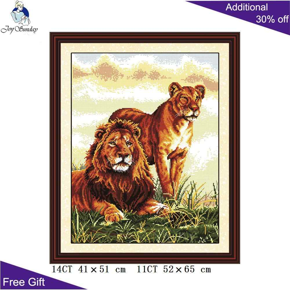 Joy Sunday Lion Cross Stitch D040 14CT 11CT Stamped and Counted Home Decoration Accompanying Lion Cross Stitch Kits