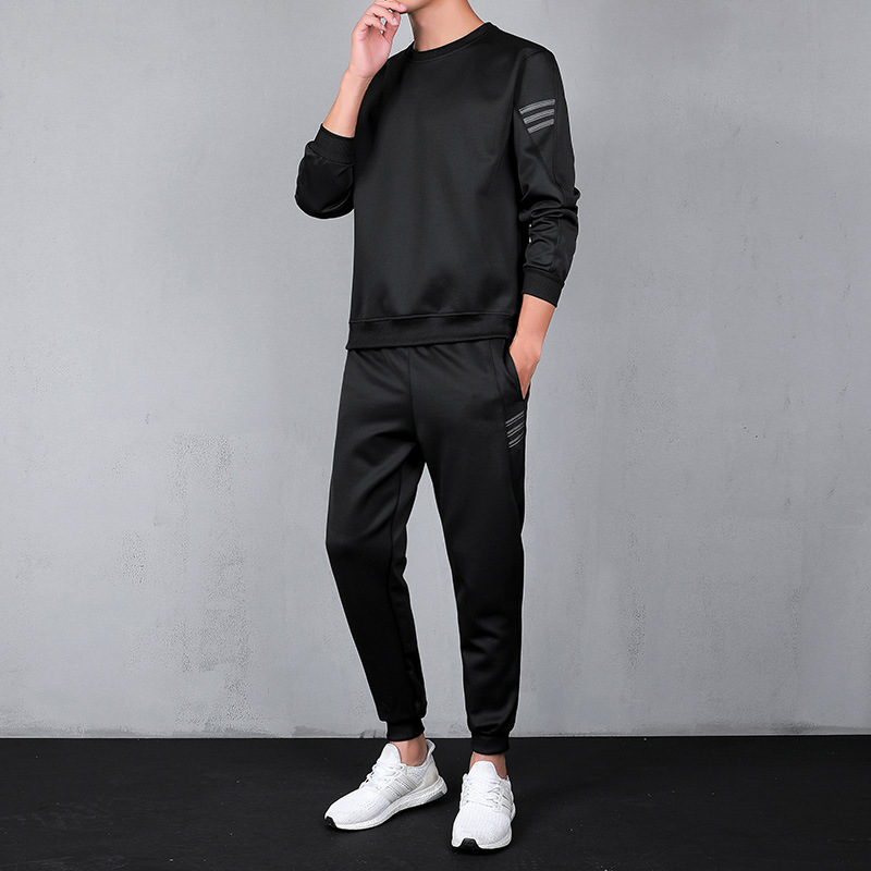 New Style Men Long Sleeve Students Casual Fashion Hoodie Suit Teenager Long Sleeve Business Attire Two-Piece Set